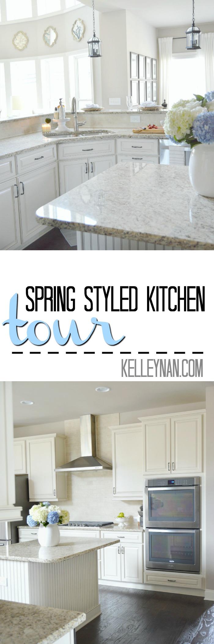 Spring Styled Neutral Kitchen with Hydrangeas