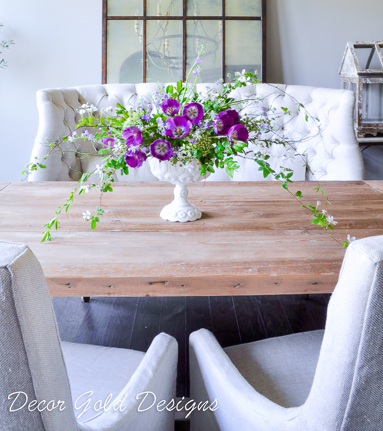 Simple Spring Table With A Vibrant Purple Centerpiece Kelley Nan