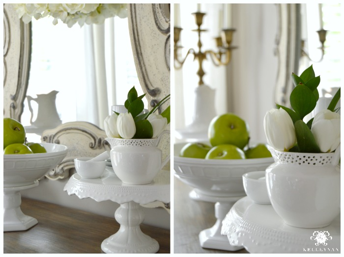 Breakfast Nook Buffet with Green Apples and White Cake Stands