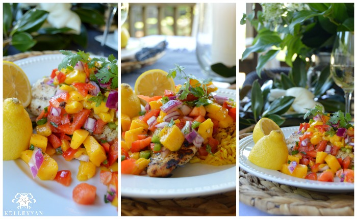 Grilled Tilapia with Mango Salsa and Yellow Rice Plated