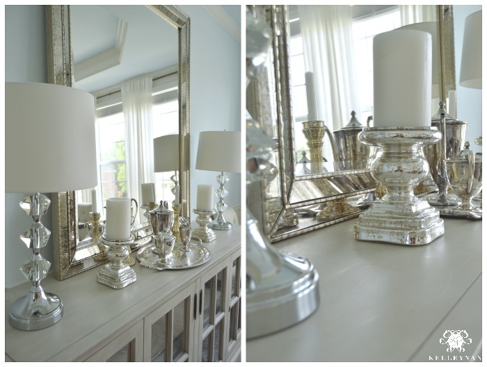 Blue Formal Dining Room Restoration Hardware French Casement Buffet with Vertical Leaning Mirror