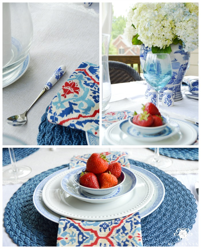 Fourth of July Outdoor Table with Strawberries