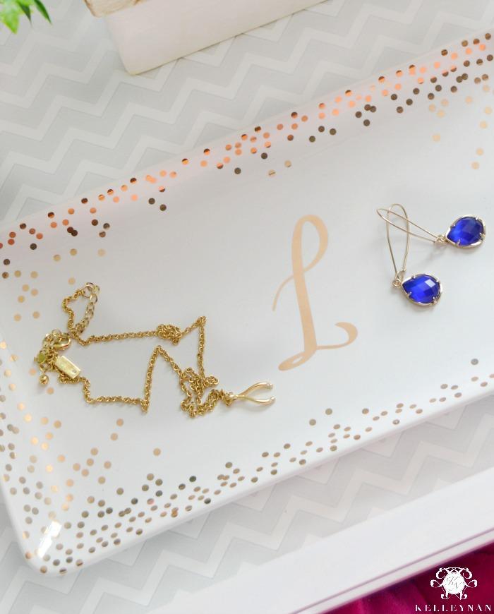 Kate Spade Wishbone Necklace and Kendra Scott Blue Earrings