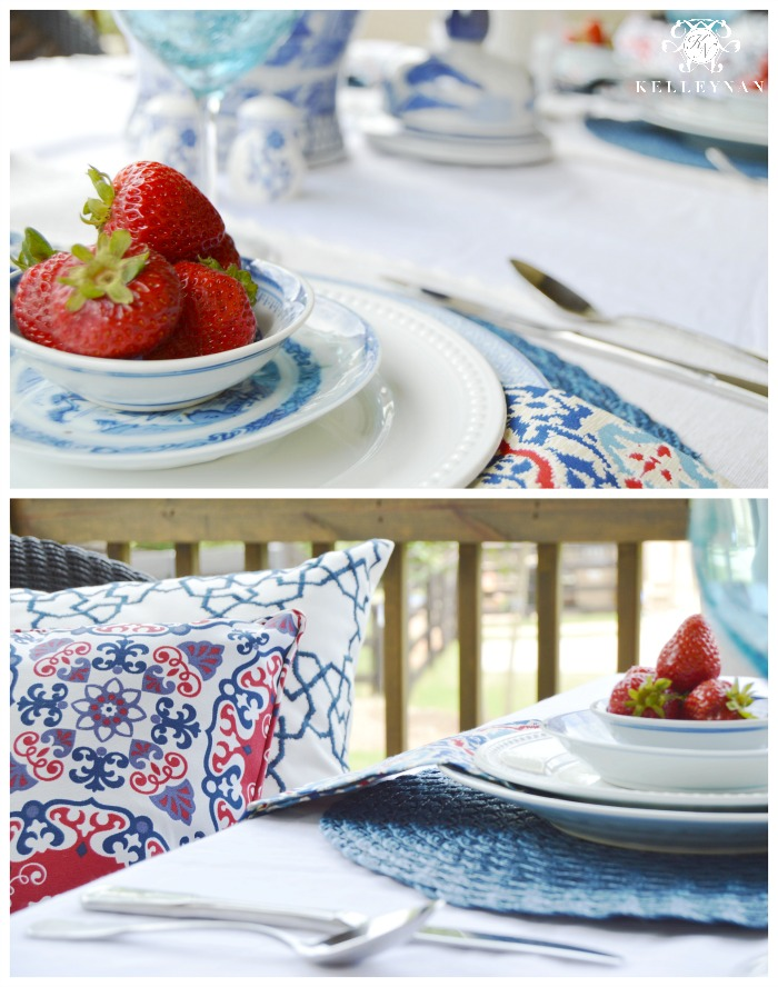 Red White and Blue Outdoor 4th of July Table with Strawberries and blue and white dishes