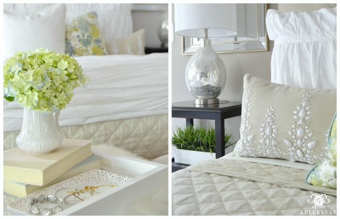 Summer Bedroom Decor- Blue Green White bedding