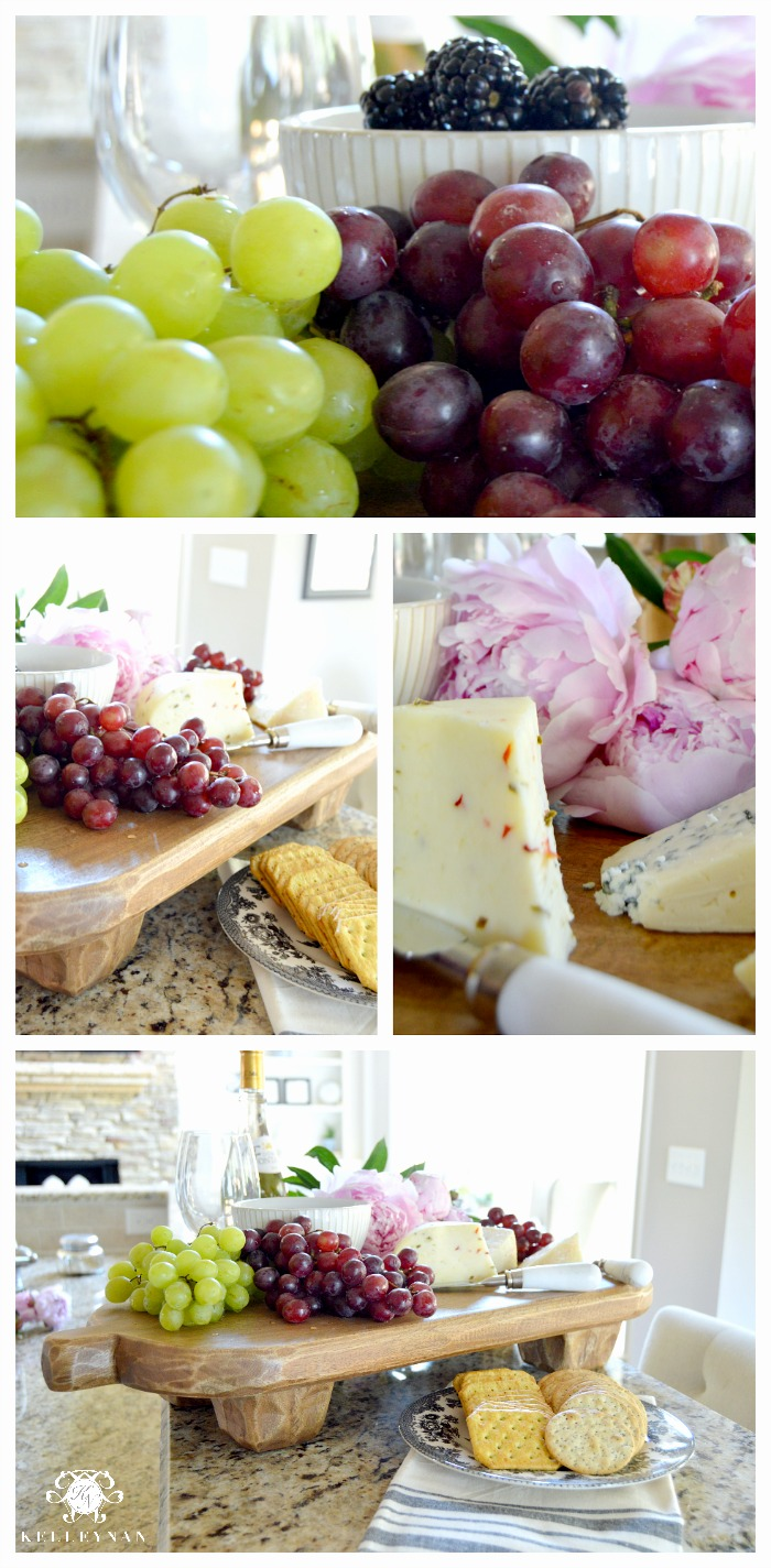 Summer Home Tour Cheese Board Collage with Peonies