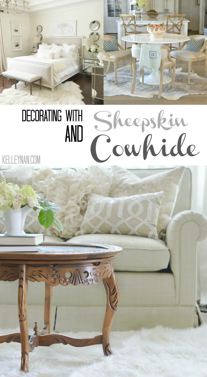 Decorating with Sheepskin and Cowhide Collage in Neutrals