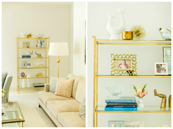 Brass Bookshelf decorate for spring