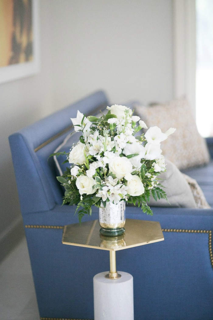 White summer floral arrangement in summer decor