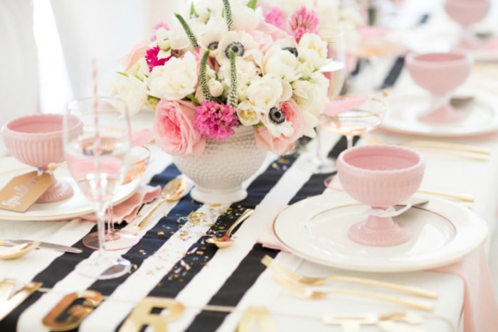 Black and white striped runner party tablescape