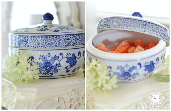 Blue and White Candy Dish with Orange Slices
