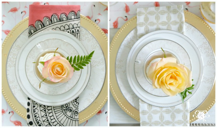 Flamingo table with gold chargers and cupcake roses