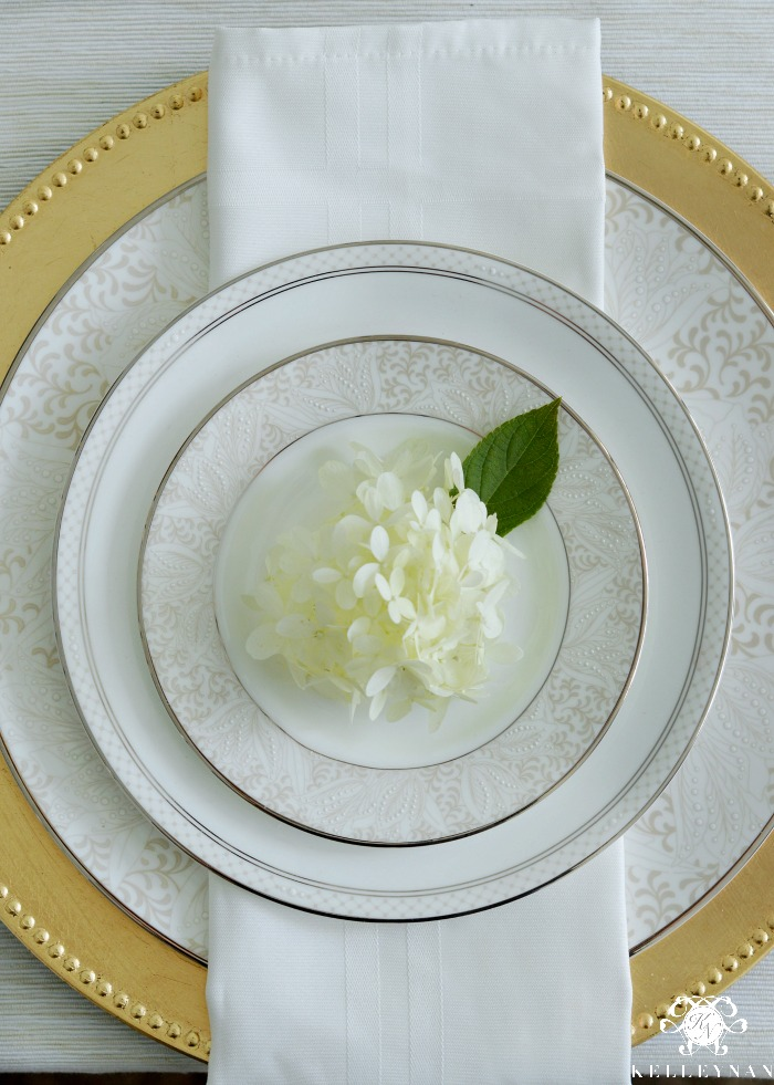 White Napkin with Gold Charter and Waterford China