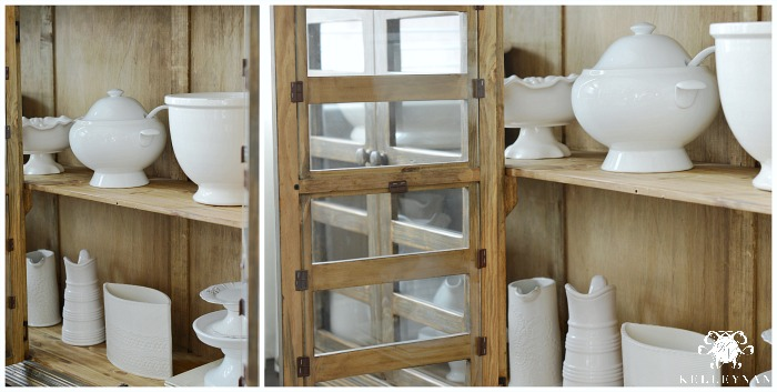 White Serveware in cabinet