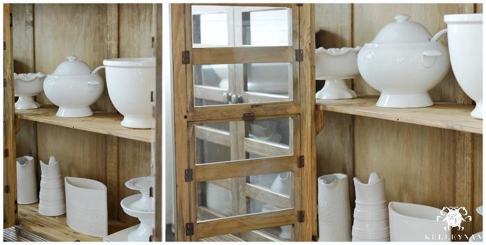 White Serveware in cabinet
