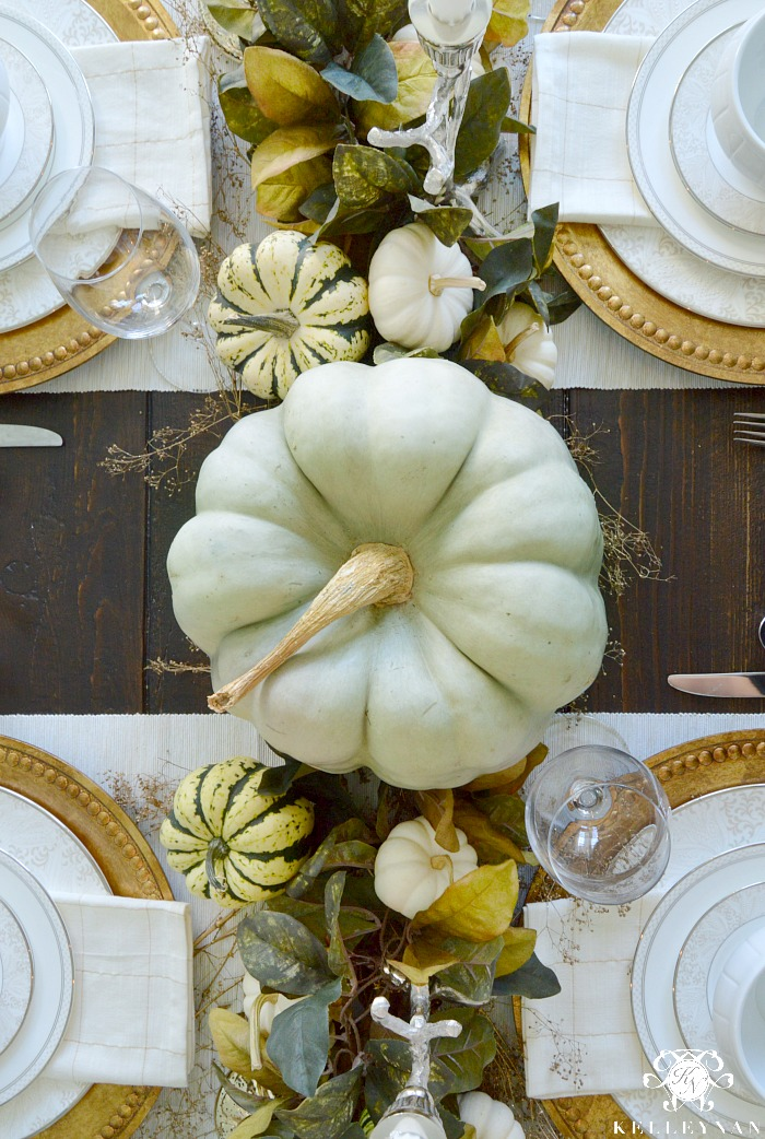 Fall tablescape with greenery and the best chicken