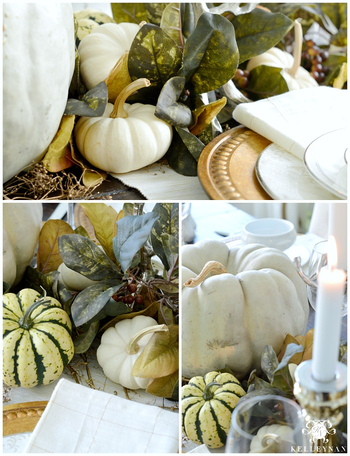 fall-table-with-green-leaves-and-white-pumpkins-with-gold-accents