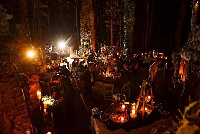 kellum-valley-farm-north-georgia-outdoor-reception-in-ancient-ruins-at-night