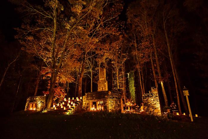 Decorating tips for a night time fall wedding kelley nan the ruins at kellum valley farm at night junglespirit Gallery