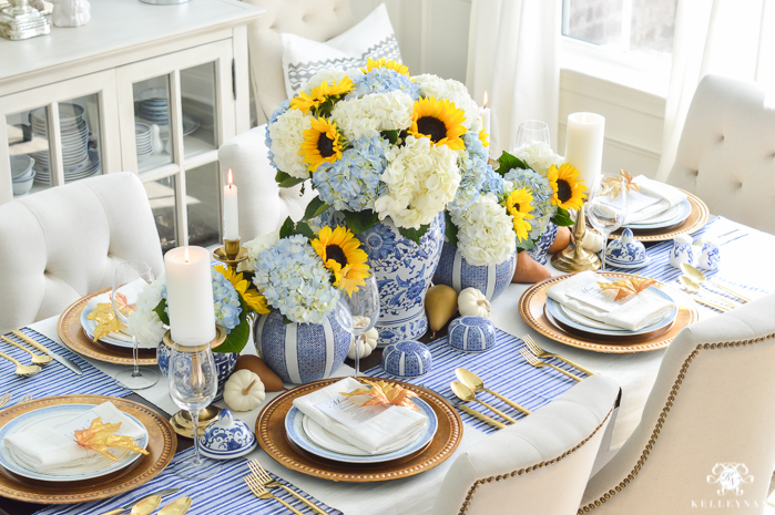 blue-and-white-thanksgiving-table-idea-with-sunflowers-and-hydrangeas-12-of-21