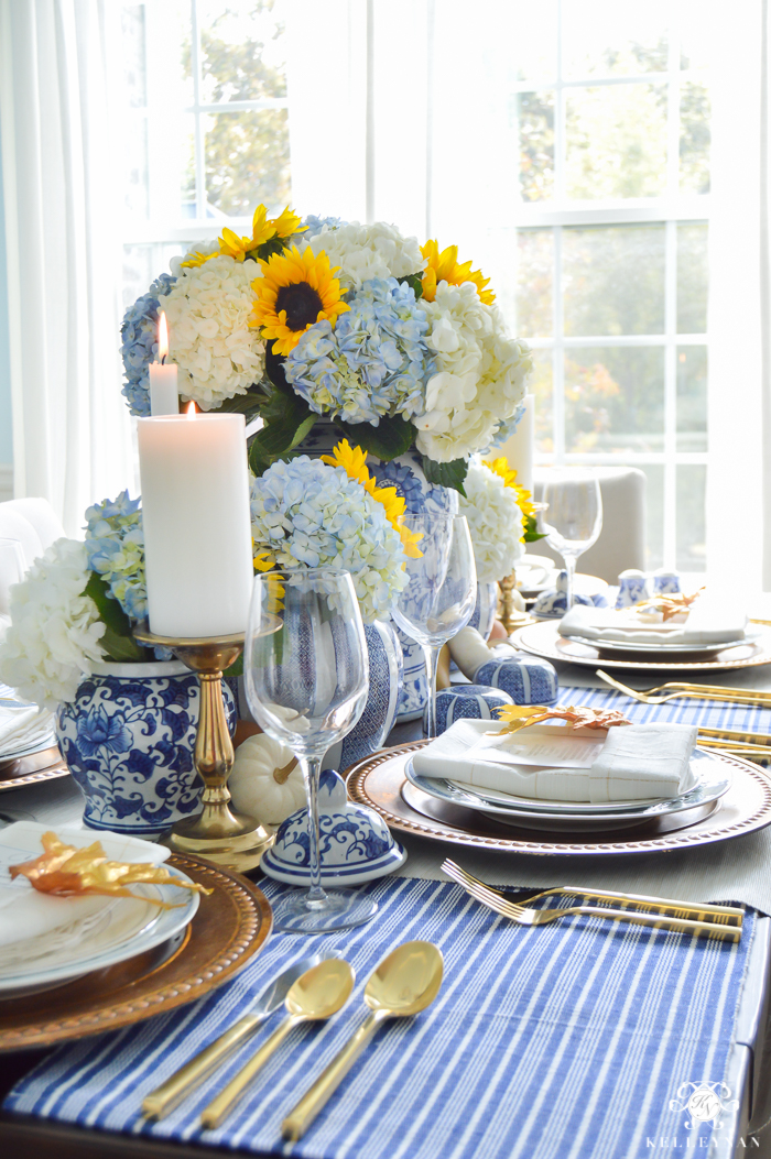 blue-and-white-thanksgiving-table-idea-with-sunflowers-and-hydrangeas-17-of-21