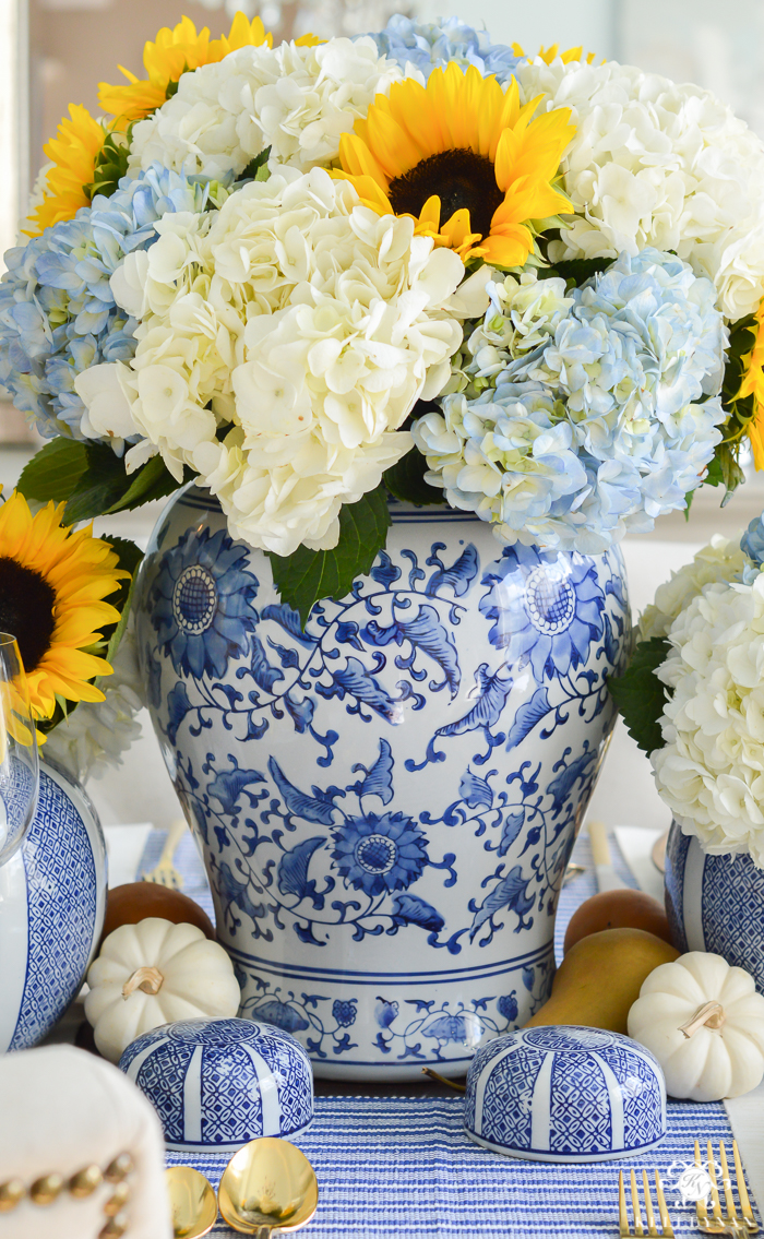 blue-and-white-thanksgiving-table-idea-with-sunflowers-and-hydrangeas-4-of-21