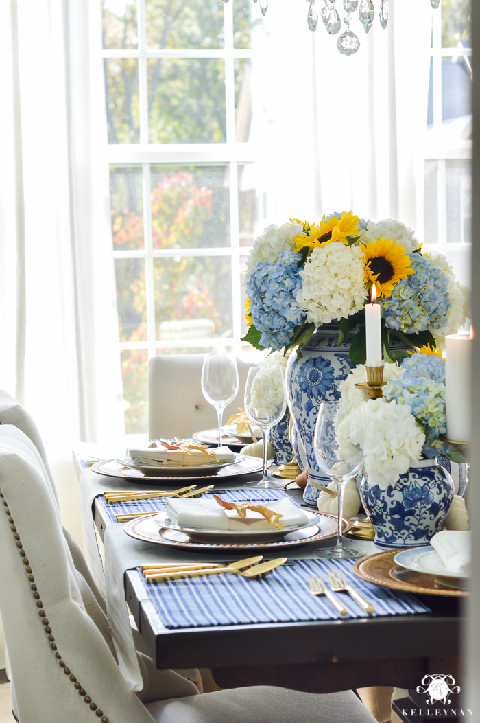 blue-and-white-thanksgiving-table-idea-with-sunflowers-and-hydrangeas-6-of-21