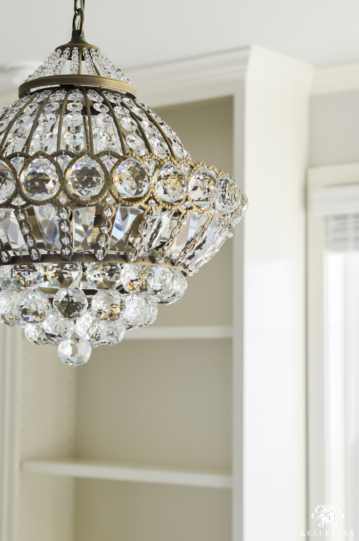 Crystal Chandelier In One Room Challenge Office Makeover