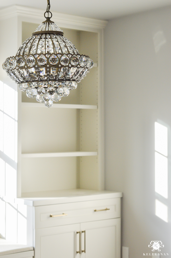 Attractive Crystal Chandelier In One Room Challenge Office Makeover