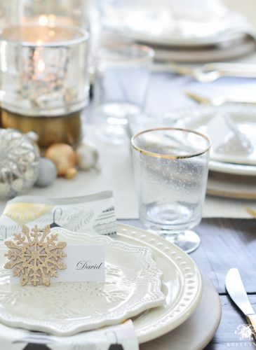 Simple Snowflake Christmas Dinner Tablescape