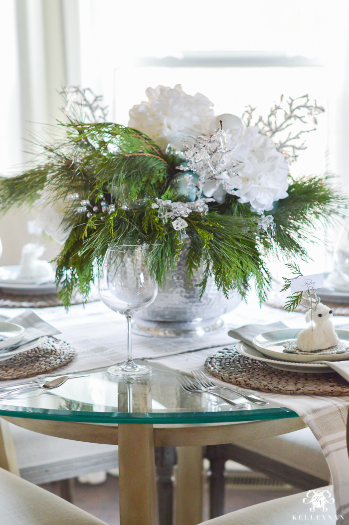 Simple Intimate Ice Blue Christmas Table Kelley Nan