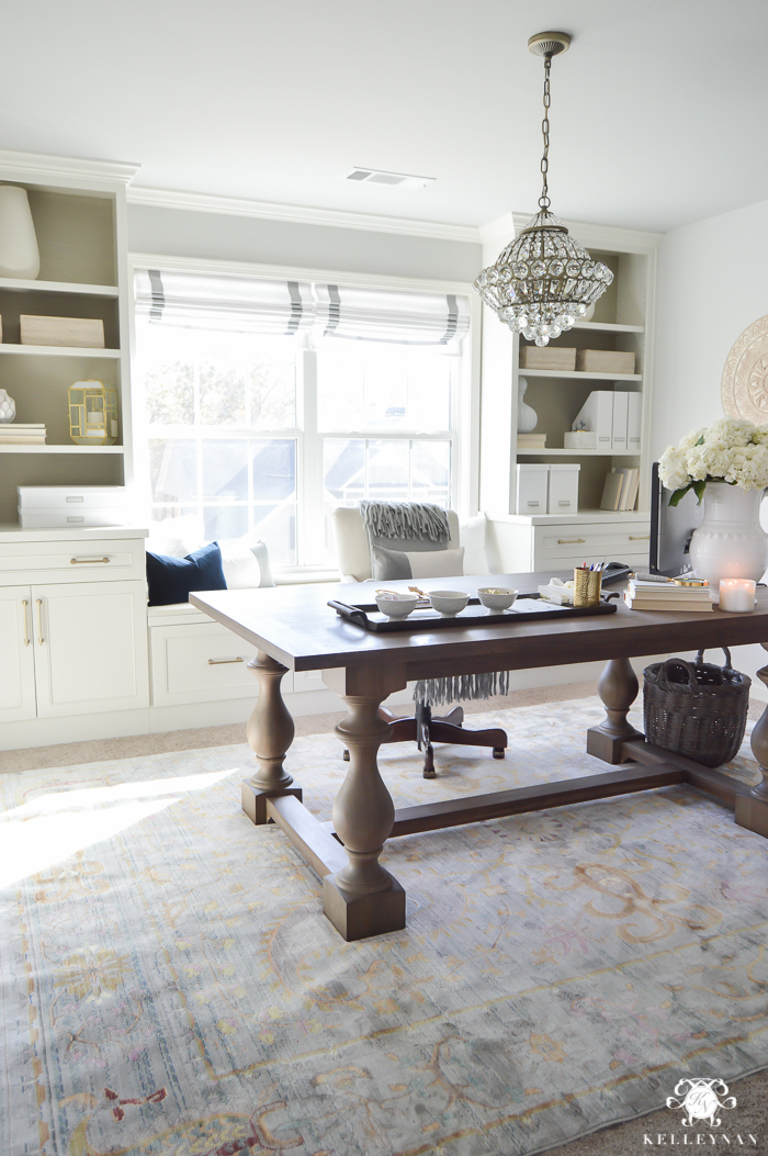 Neutral White And Gold Home Office Makeover With