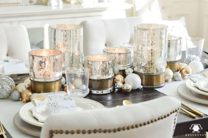 Christmas Table Scape Ideas.Simple Snowflake Christmas Dinner Tablescape Kelley Nan