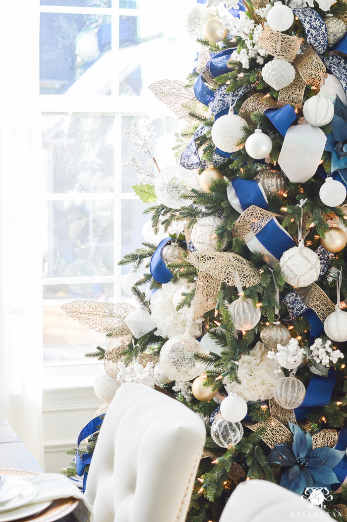 blue and white christmas tree in dining room - Blue And White Christmas Tree