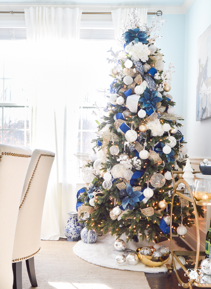 blue and white christmas tree in elegant dining