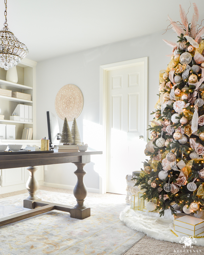 blush and gold tree in elegant office 1 - White And Gold Christmas Decorations