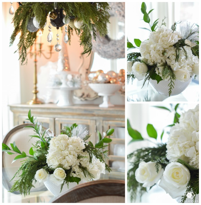 christmas-home-tour-green-cedar-garland-in-white-rose-and-hydrangea-flower-arrangement