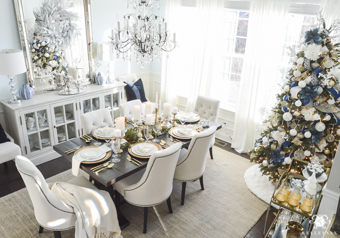 elegant-blue-silver-and-gold-dining-room-with-christmas-tree-and-bar-cart-1-of-1