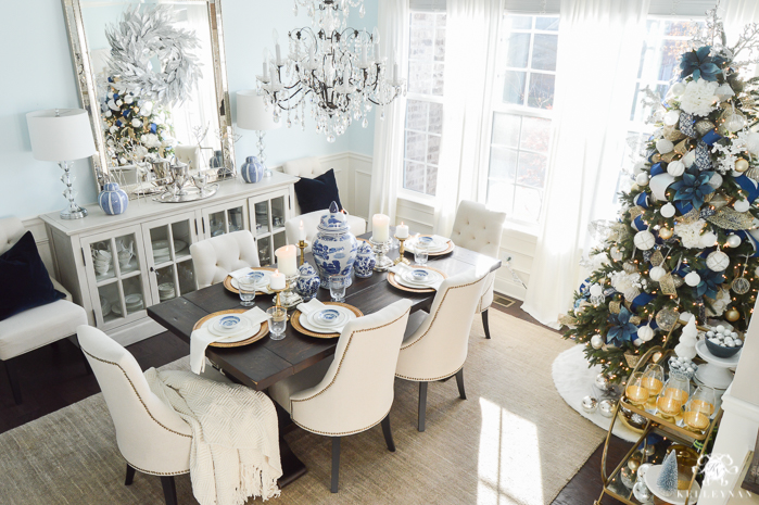 elegant blue and navy christmas dining room decorating - Elegant Christmas Dining Room Decorations