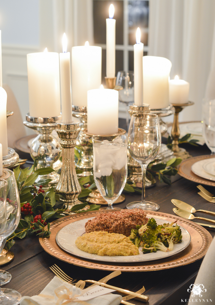 elegant-christmas-dining-room-with-christmas-dinner-idea-pecan-crusted-stuffed-chicken-16-of-20