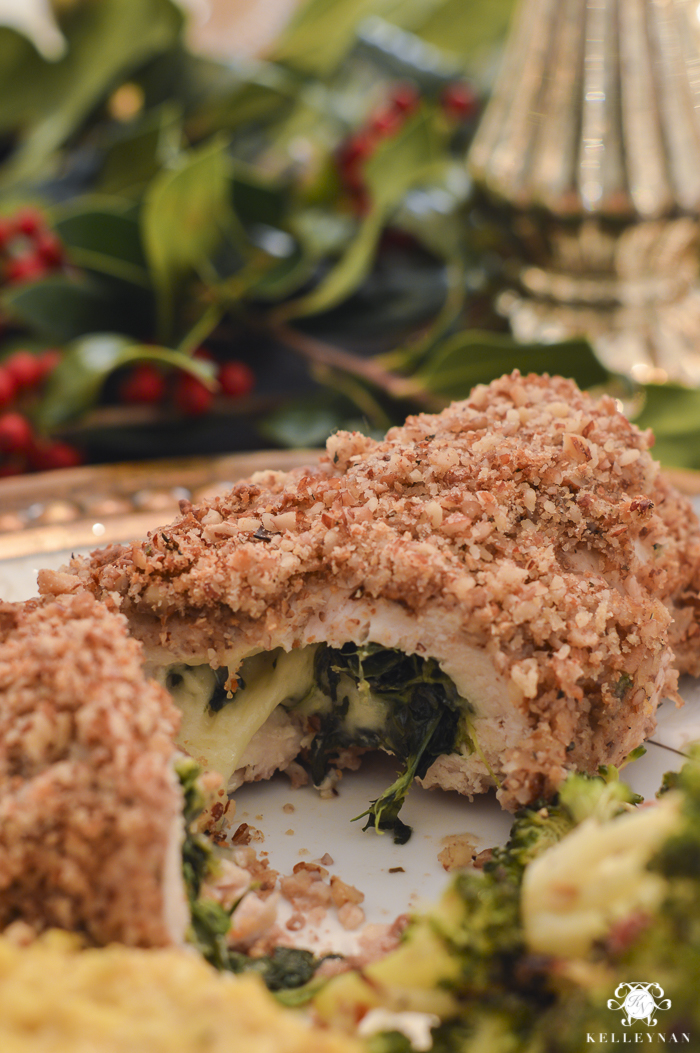 elegant-christmas-dining-room-with-christmas-dinner-idea-pecan-crusted-stuffed-chicken-18-of-20