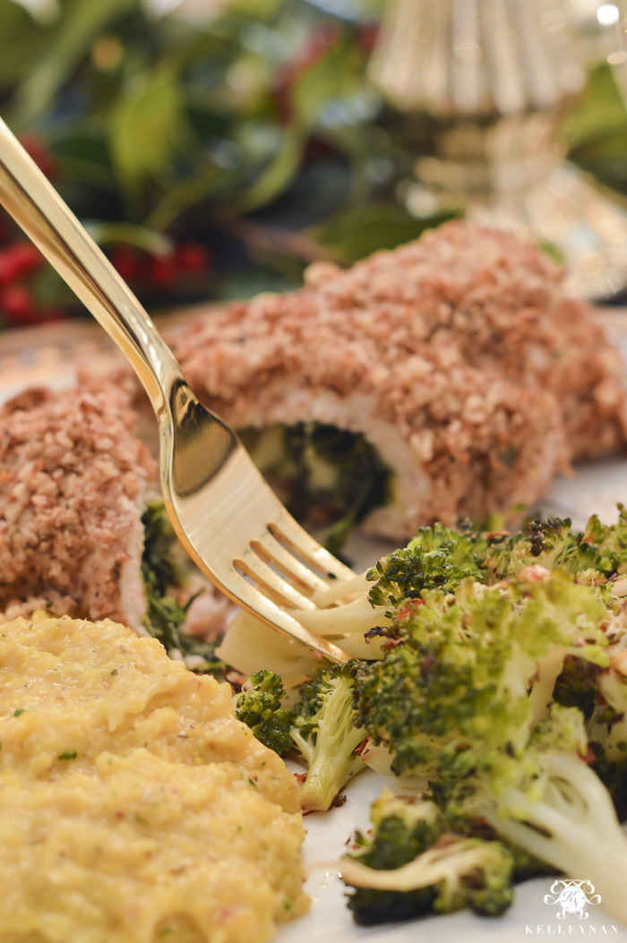 elegant-christmas-dining-room-with-christmas-dinner-idea-pecan-crusted-stuffed-chicken-19-of-20