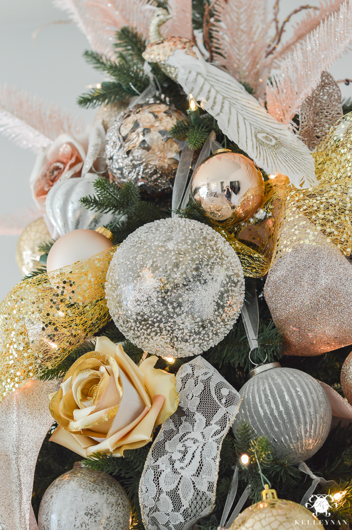 gold and silver and blush christmas ornaments color