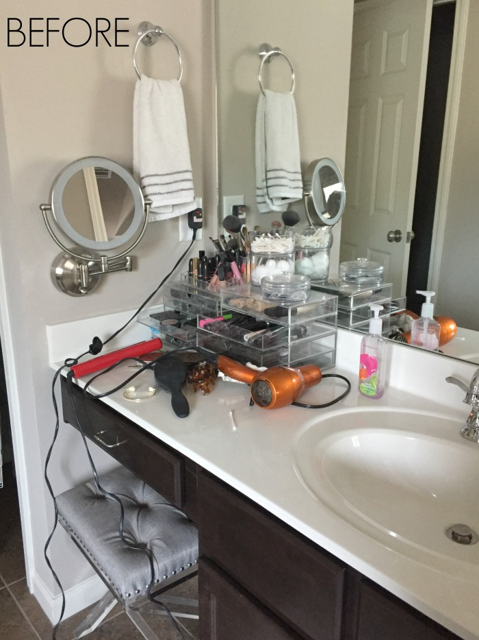 First I Cleared Off The Counter And Cleaned Out Drawer Cabinet Set Everything On Opposite Side Of Bathroom Gave My Husband S Vanity