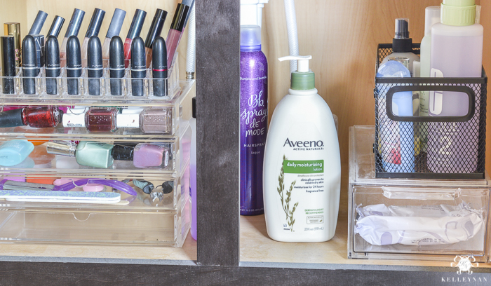 Vanity makeup drawer and bathroom cabinet organization kelley nan for How to organize bathroom drawers