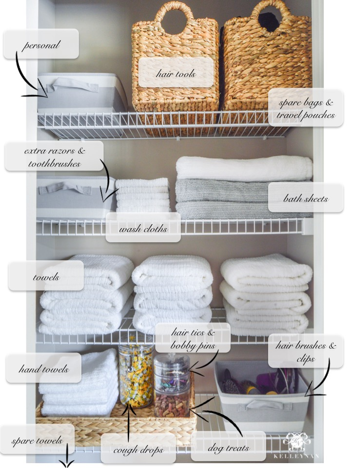Organized bathroom linen closet anyone can have kelley nan How to organize bathroom