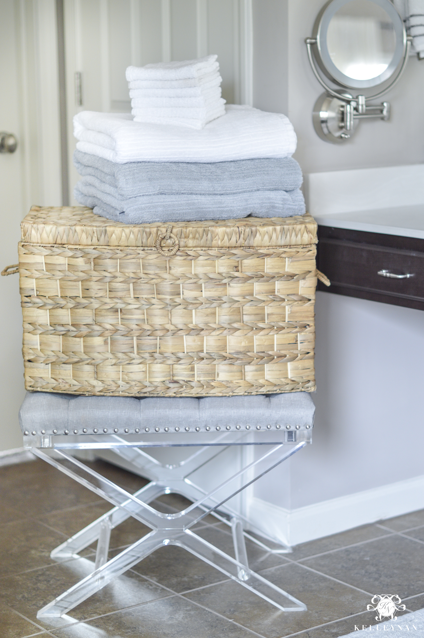 Organized Bathroom Linen Closet With Towels And Baskets (12 Of 14)