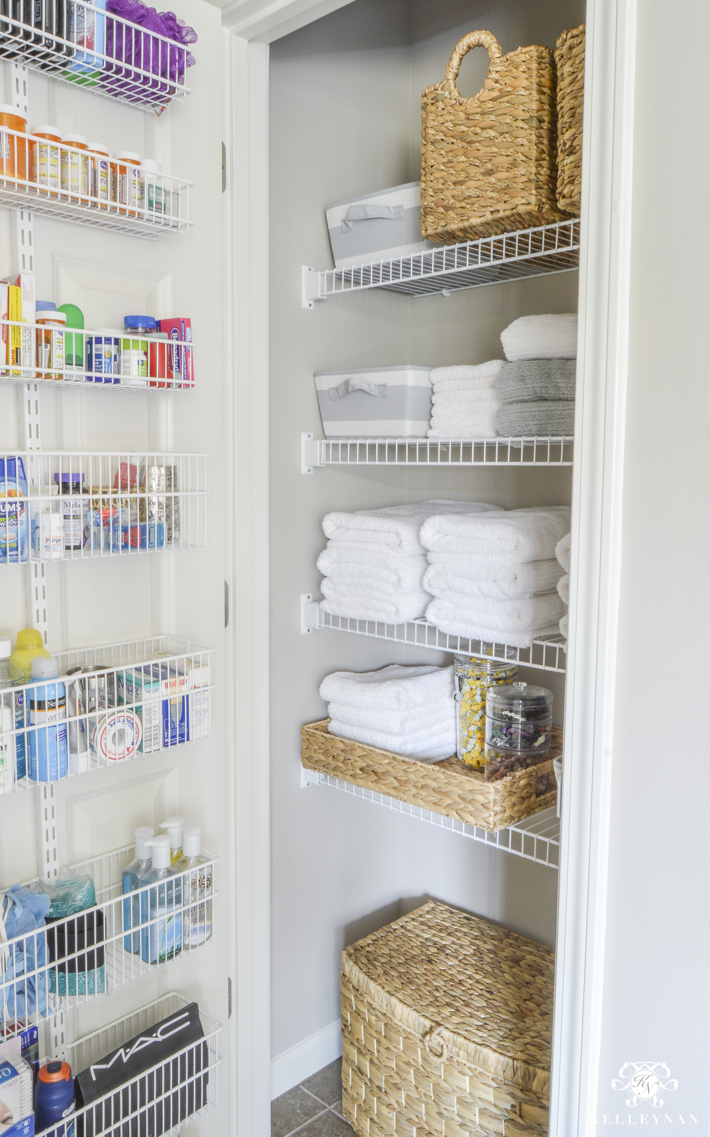 Picture of: Organized Bathroom Linen Closet Anyone Can Have Kelley Nan