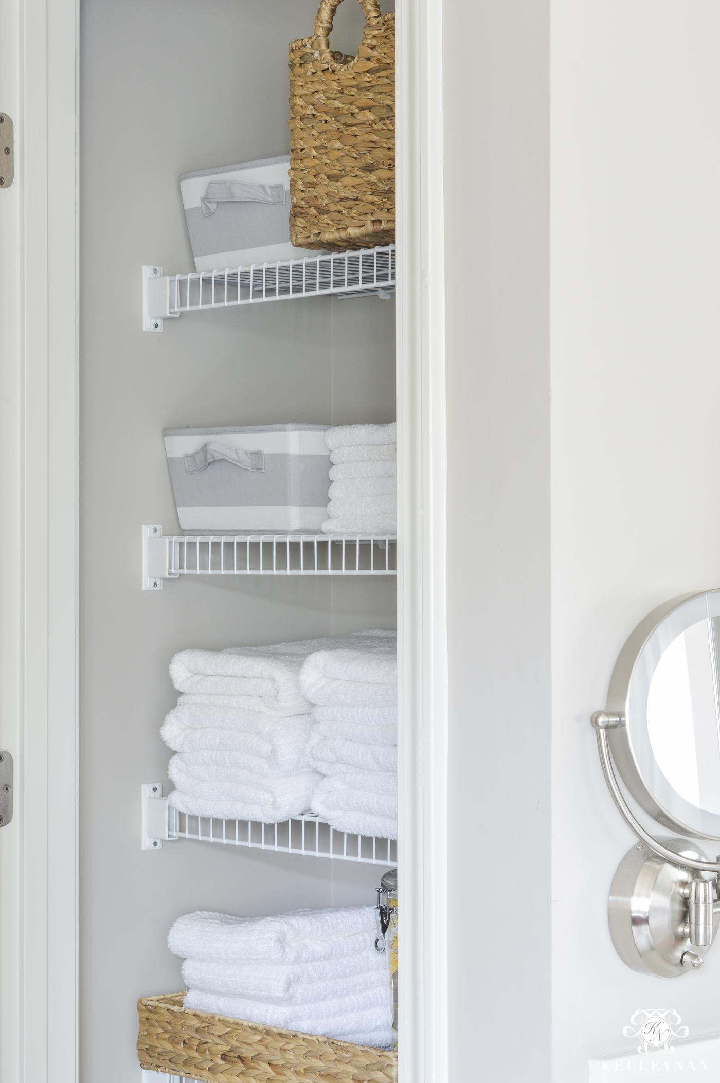 Remarkable Organized Bathroom Linen Closet Anyone Can Have Kelley Nan Hairstyles For Women Draintrainus