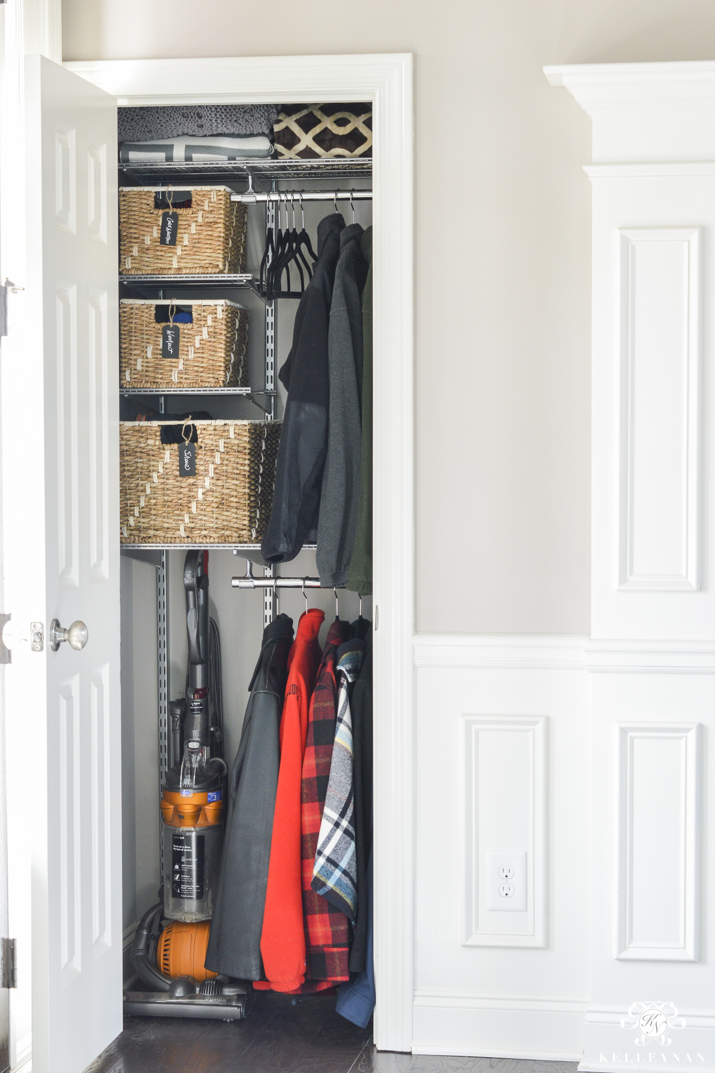 Organizing Before And After: Organized Foyer Coat Closet- Before And After Makeover